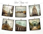 """Paris Postcards SET 01 - SIX 5,5""""x5,5"""" Fine Art Postcards - Tour Eiffel"""