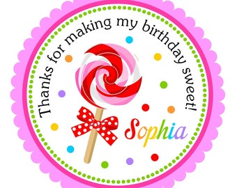 Lollipop Stickers, Personalized Lollipop Labels, Lollipop Gift Tags, Lollipop Party - set of 12