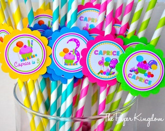 Candyland Paper Straws, Striped Paper Straws, Candyland Birthday Party