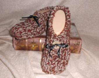 Women's Handmade Knitted Merlot and Tan Slippers Size 6,7, or 8