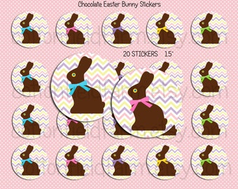 "Chocolate Easter Bunnies 1.5""  Stickers for embellishing Tags, Cards, Scrapbooking,  Cupcake Toppers, Envelopes, 20 Peal N Stick Stickers"