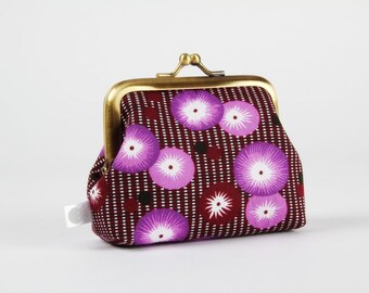 Metal frame change purse - Coquelicots mauves - Big Aunty / Petit Pan french fabric / purple eggplant black white / garden / poppies
