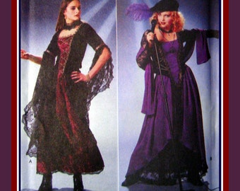 GOTH GYPSY GIRL-Designer Costume Sewing Pattern-Two Styles-Corset Style Bodice-Blouse-Long Skirts-Overskirt-Beret-Uncut- Size 16-20- Rare