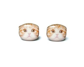 Orange and White Scotland Fold Ear Cat Kitten Stud Earrings / cat earrings / Pet memorial gift / cat Jewelry / Cat Lover / A025ER-C24