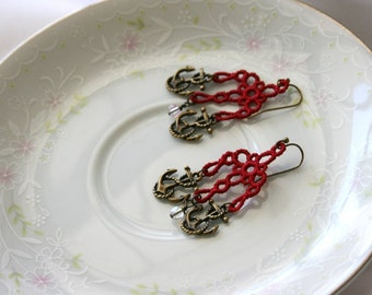 EARRINGS - Chandelier Petite - Anchor - Navy - Red - Sailor - Free Standing Lace Embroidery - Medium
