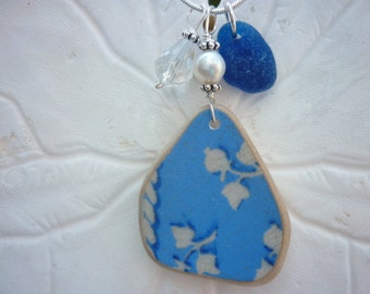 Sea Glass Necklace - Blue Beach Sea Pottery Jewelry Seaglass
