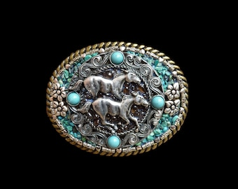 Wild Horses Mosaic Belt Buckle with Genuine Turquoise Men's or Women Horse Belt Buckle