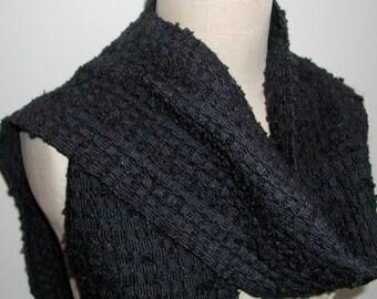 Handwoven Merino and Silk Scarf with Handspun Wool and Silk Boucle Yarn