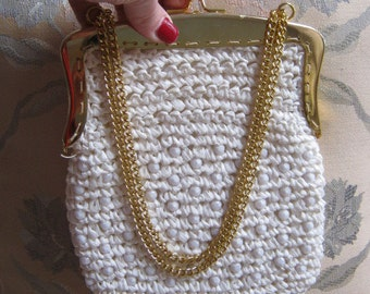 Vintage white woven raffia pouch bag, white woven raffia and bead pouch, white goldtone frame chain bag, brides bag summer bag made  Italy