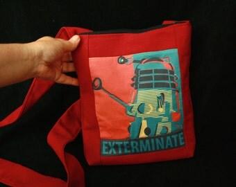 Dalek Purse Doctor Who shoulder bag EXTERMINATE! for Geek Gals - Red Retro style print interior pocket Cross Shoulder bag