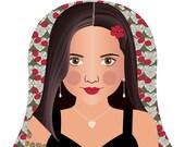 Holly 21st Century American Woman Matryoshka Art Print, Kids Wall Art