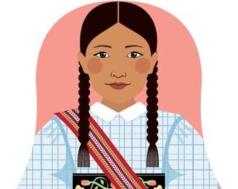 Métis Nation of Canada Wall Art Print featuring cultural traditional dress drawn in a Russian matryoshka nesting doll shape