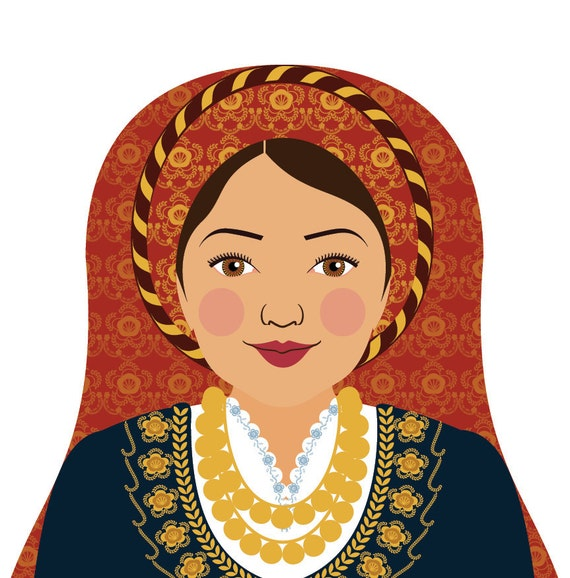 Greek Wall Art Print featuring culturally traditional dress drawn in a Russian matryoshka nesting doll shape