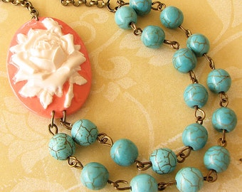 Cameo Necklace Turquoise Jewelry Flower Necklace Coral Jewelry Beaded Necklace Gift For Her
