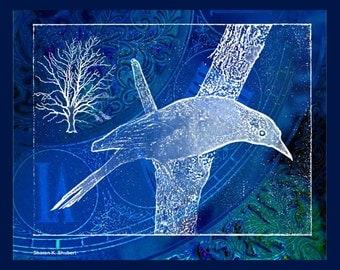 Grackle Bird Art, Cobalt Blue, Digital Photomontage, Monochromatic Abstract Realism, Woodland Wall Hanging, Home Decor, 8 x 10, Giclee Print
