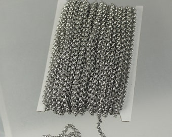 30 feet Stainless Steel Chain ROLO chain - 2mm  - Bulk Chain Necklace Wholesale DIY Jewelry Chain - Ship from USA California