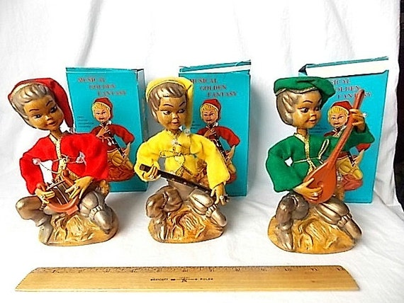 3 Vintage Pixie Elf Figures With Musical Instruments In
