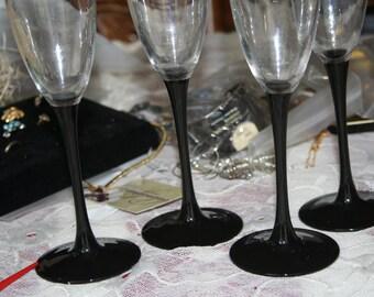 Vintage Black Champagne Flutes