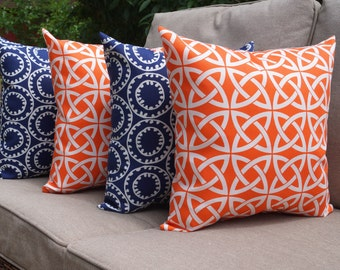 Fall Sale - Linked in Mandarin Orange and Ring a Bell Navy Outdoor Throw Pillow - Set of 4 - Free Shipping