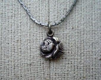 Notre Dame Necklace Vintage 1970s Rose Locket Silver Metal