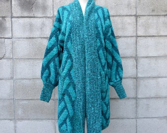 Sweater Coat Long Vintage 1980s Teal Blue and black Cardigan Woven