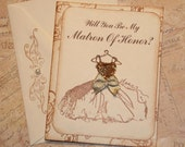 Will You Be My Matron of Honor Card  Vintage Wedding