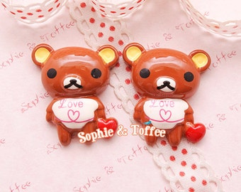 Kawaii Brown Bear with Love Resin Cabochon Decoden Pieces Kawaii Cabochon - 5pcs