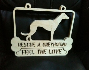 Wooden handmade Rescue a Greyhound wall hanging