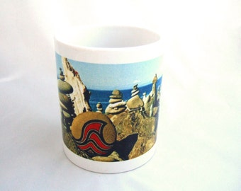 Ceramic Coffee Mug or Tea Mug with a Unique Colorful Rock Cairn Seascape Scene Home Trends Unique Gift Ideas for Home Decor or Office Decor