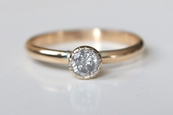 engagement ring recycled 14k white and yellow gold