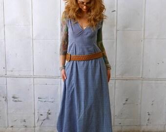 Blue White Stripe Linen Nautical V Neck Open Back Dress Maxi Dress|Day Dress|Long Dress|Summer Dress|Sleeveless Dress|Drop Waist Dress