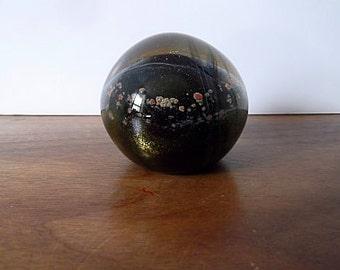 Vintage Vernon BREJCHA Art Glass Paperweight, Black, Gold, Red