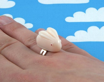 Pale Pink Sugar Bunny Ring Adjustable