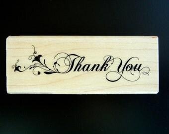 THANK YOU With FLOURISH Inkadinkado Wood Mount Rubber Stamp