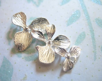 Shop Sale..10 pcs, ORCHID Connectors Links Pendants Charms, 34x18 mm, Silver CASCADING TRIO  organic nature ..jewelry ts hp