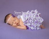 Newborn Romper, Purple Floral Romper Newborn Baby Photography Props Newborn Photo Props, Bloomers, Girl Props, Ruffle, Bow, Baby Girl Props
