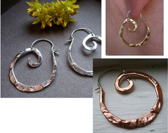 Mini Pound Swirl Hoops in Copper, Bronze, Sterling silver, 24k gold plate, Black gunmetal or Sterling silver plate.