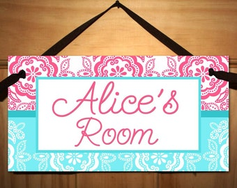 Coral and Teal Floral Medallion Girls DOOR SIGN Nature Bird Bedroom and Baby Nursery Kids Bedroom Wall Art DS0389