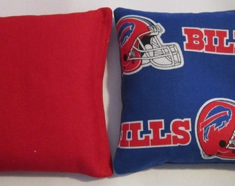 Buffalo Bills Fabric Cornhole Bags - FREE SHIPPING - Cornhole or Baggo Bean Bag Toss - Set of 8
