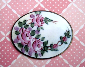 Hand Painted Enamel Oval