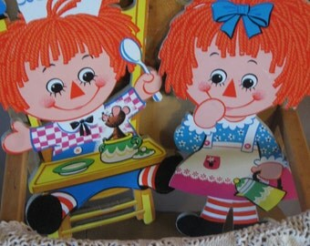 SALE Two Cute Bobbs Merrill Raggedy Ann and Andy Wall Hangings