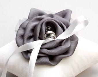 Silver ring pillow, wedding ring pillow, bridal ring bearer pillow, satin pillow - Shannon