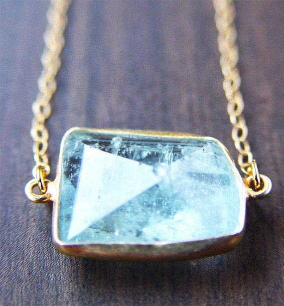 Blue Aquamarine Geometric Necklace Gold
