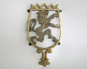 Vintage Brass Kitchen Trivet Wall Hanging Lion Crown
