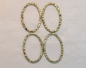 4 pcs Antiqued Brass Oval Connector Rings 30mm x 20mm