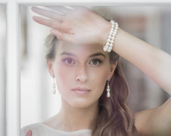 Pearl Bracelet  Wedding Jewelry Bridal Bracelet Bridesmaid Bracelet Double Strand Swarovski Ivory White Pearl Bracelet