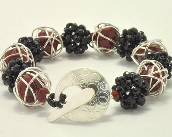 Red, Black and Silver Bracelet, Sterling Silver Wire Wrapped Red Crystal & Black Beaded Beads