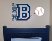 Baseball Name & Initial Wall Decal - Baseball Wall Decal - Sports Wall Decal - Personalized Baseball Wall Decal - Vinyl Wall Decal