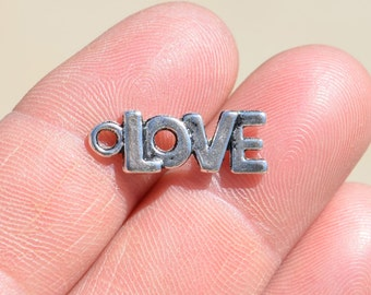 10  Silver 21mm Word LOVE Charms SC2091