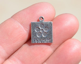 10  Silver Friends Charms SC1883
